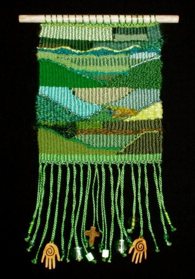beginner tapestry weaving - Love this piece-the greens delight and the fringe accents are adorable