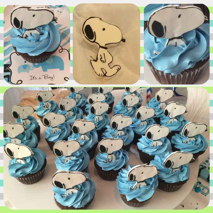 Snoopy baby shower cupcakes. #snoopy