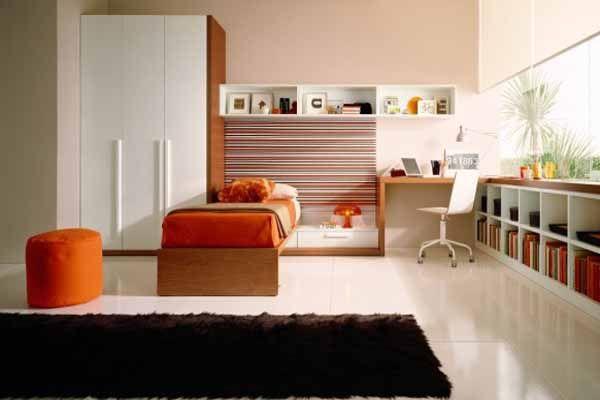 white and orange teenage bedroom colors