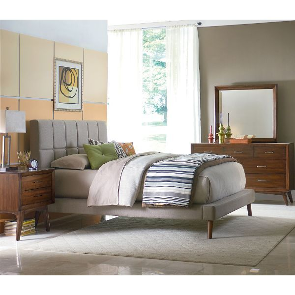 this bedroom setu0027s modern take on a midcentury inspired design is sure to make