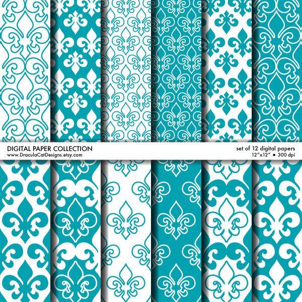 Digital Scrapbook Paper Teal Blue & White FleurDeLis