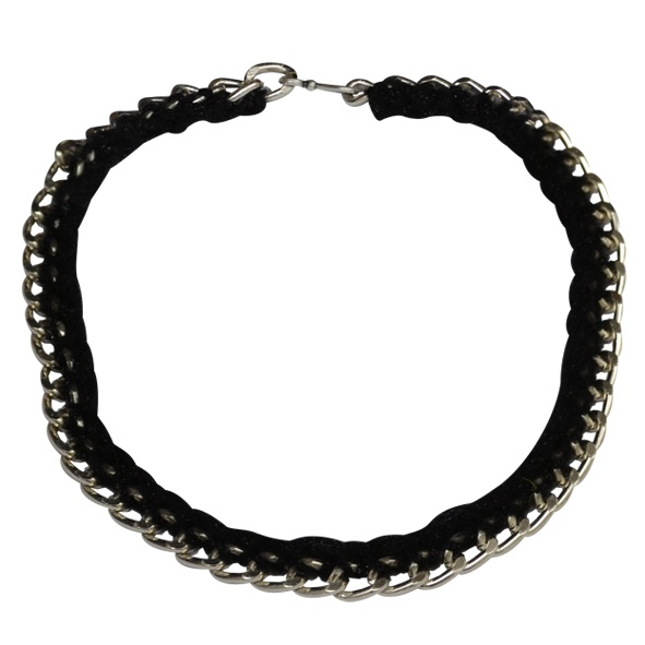 """Necklace """"Rock"""" black  Chain Faux Necklace with black thread in between."""