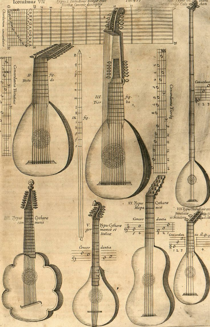Athanasius Kircher, Musurgia Universalis (Plucked Instruments), c. 1650.