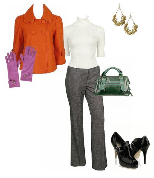 outfits for fallPurple Gloves, Style Outfit, Outfit Ideas, Fall Outfits, Style Pinboard, Orange Friday, Orange Jackets, Solid Orange, Fashion Style Clothing