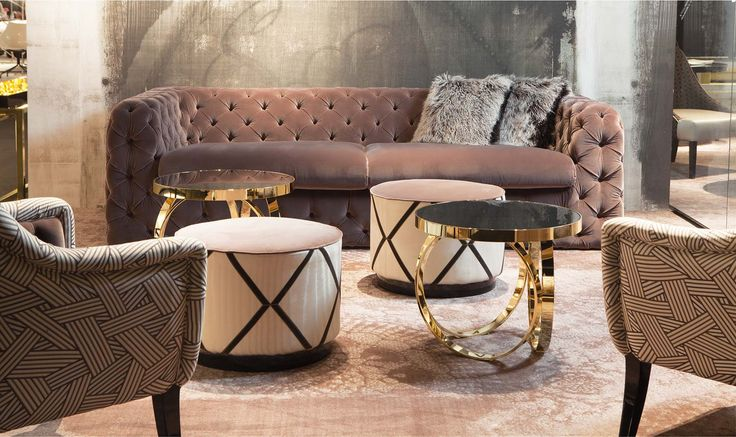 Ludovico sofa, Beatrice small armchair, Miky pouf and Ottoline small table - wall paper by Wall And Deco