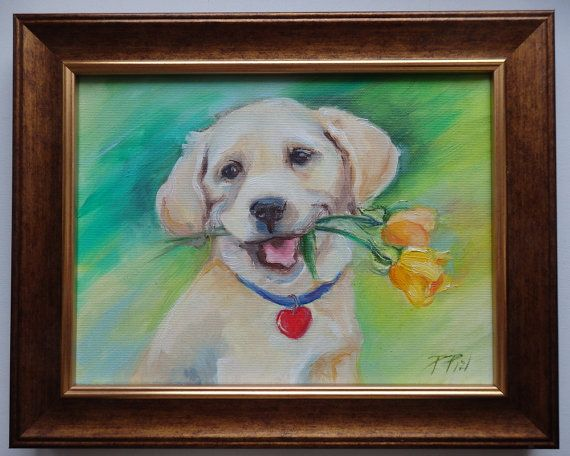 Happy dog DOG PORTRAIT Original Oil Painting on by CanisArtStudio
