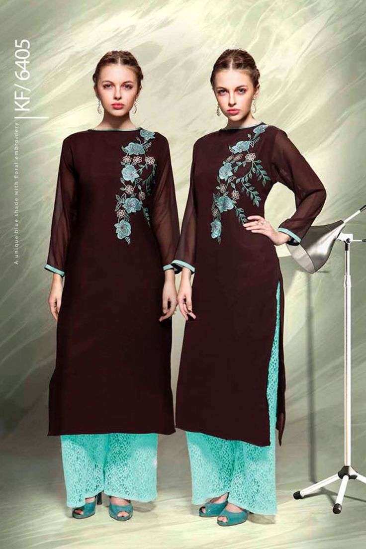 Designer Real Georgette Brown Kurtis For Office Wear Or Casual Wear With Embroidary Work.......