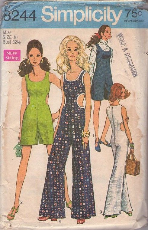 Simplicity 8244 Vintage 60's Sewing Pattern Designer Courreges Inspired Peekaboo Side Cut Outs Space Age Mod Romper, Pantdress, Jumpsuit SO HOT! #MOMSPatterns