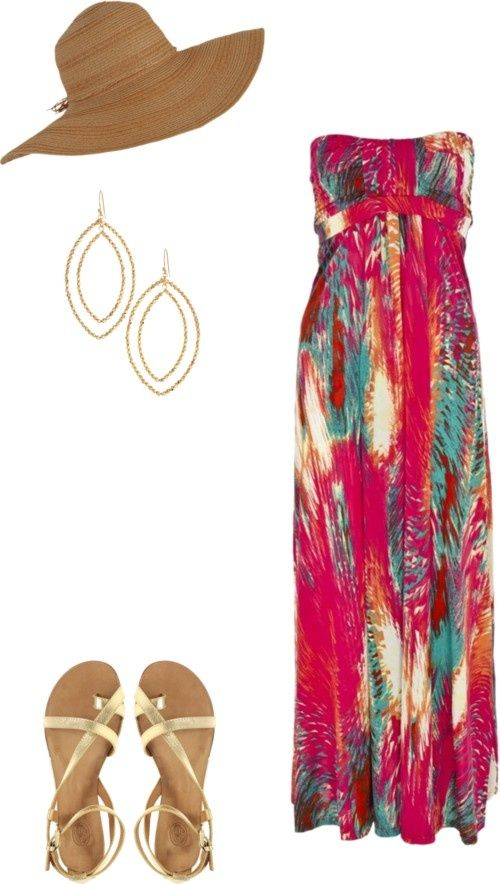 Styled: Beach Day / maxi dress / stella and dot / gold sandals / floppy hat / fashionay