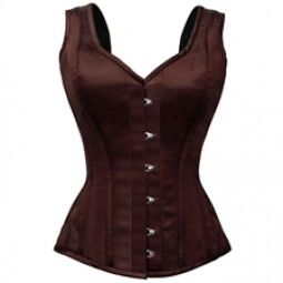 Brown Satin Shoulder Straps Corset