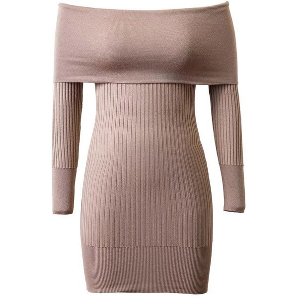 Khaki Off Shoulder Long Sleeve Rib Knitted Bodycon Dress ($43) ❤ liked on Polyvore featuring dresses, off the shoulder long dress, long dresses, off shoulder bodycon dress, brown bodycon dress and brown dresses