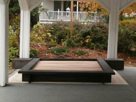 ncfwn01 low platform solid hardwood bed with wide platform sides without side tables natural color