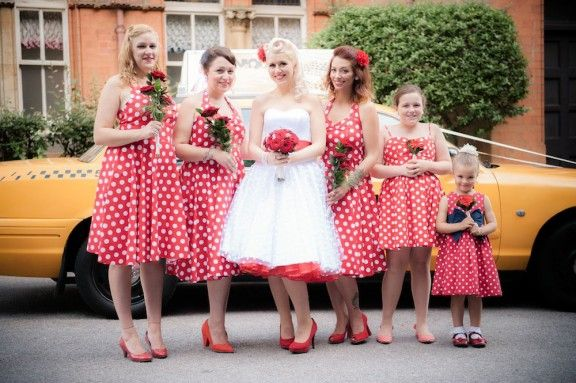 Rockabilly red and white bridesmaid dresses
