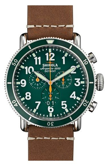 Shinola 'The Runwell' Chronograph Leather Strap Watch, 48mm available at #Nordstrom
