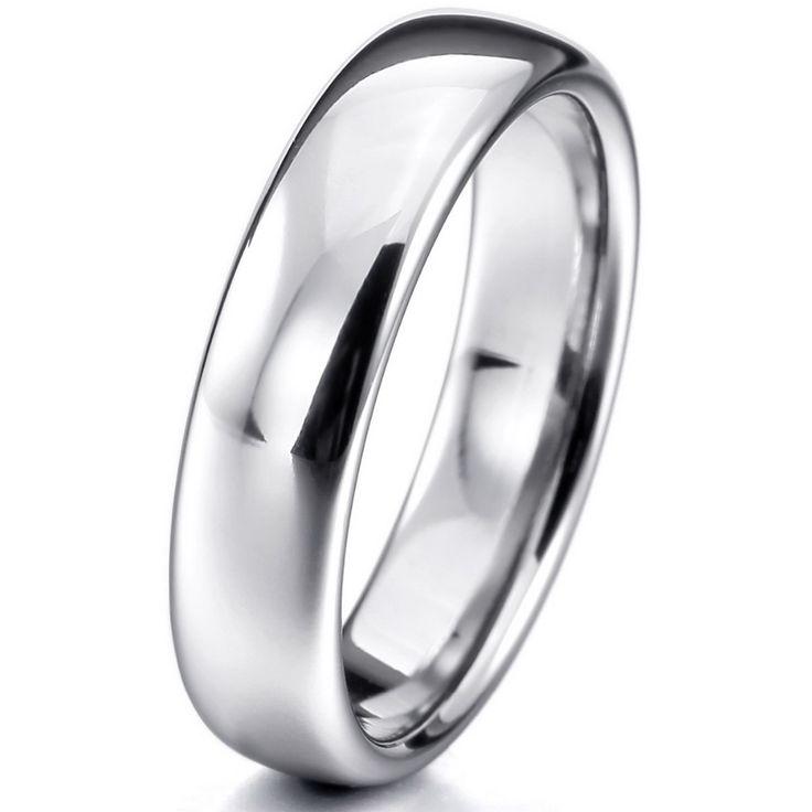 Vrouwen, mannen Breed 6mm Tungsten ring Band Zilver Comfort Fit Classic Wedding Plain Dome Gepolijst Maat 4-16 Gratis Verzending
