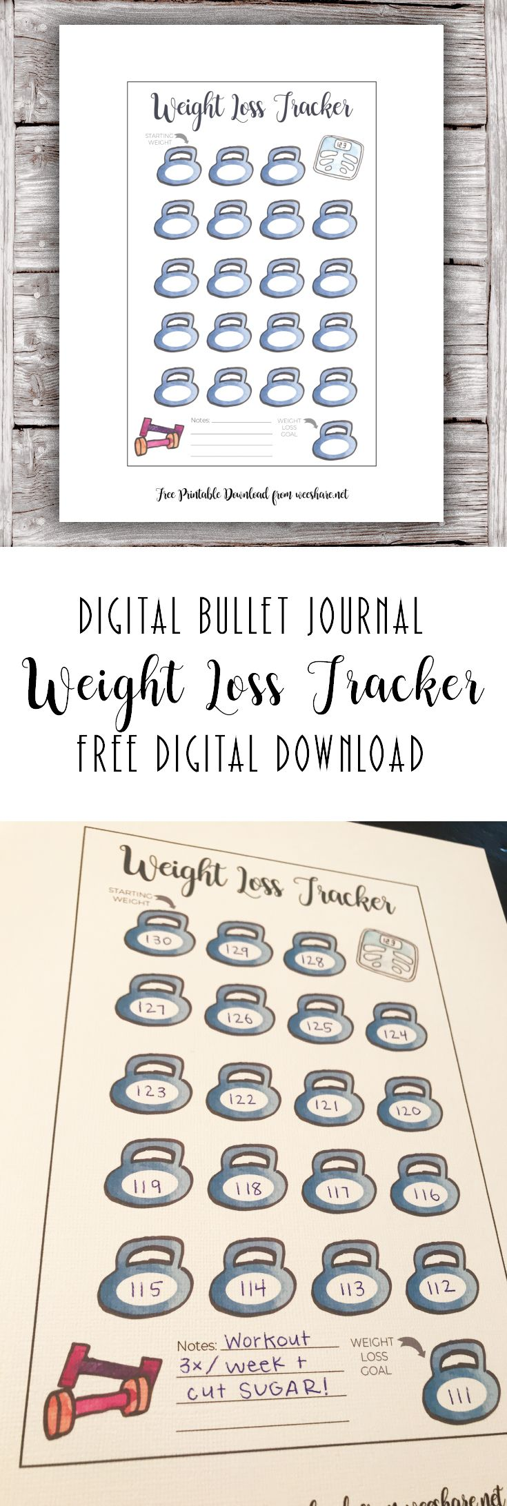 Weight Loss Tracker – Digital Bullet Journal Free Printable