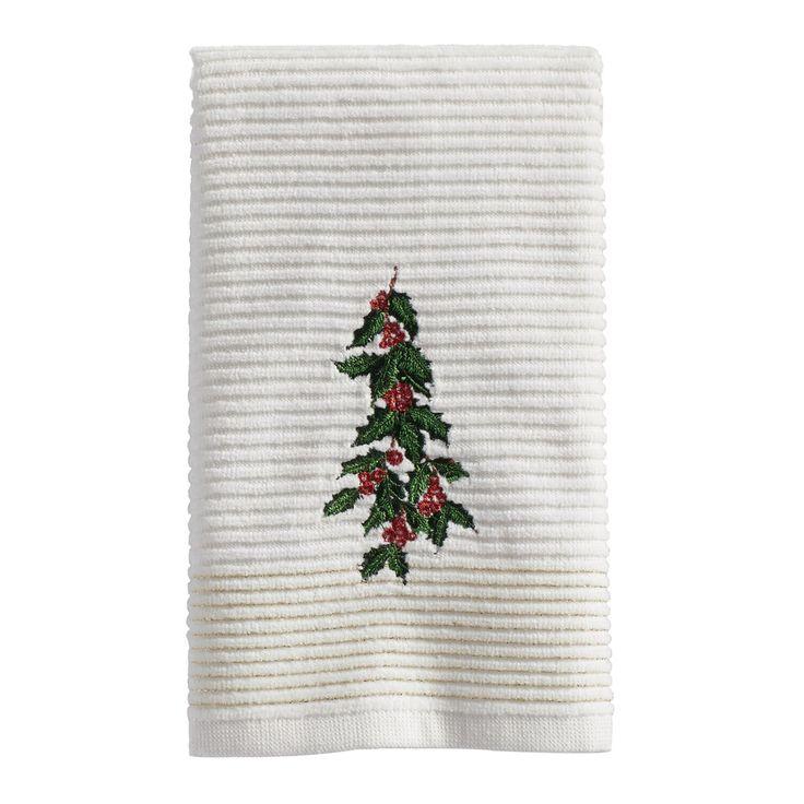 St. Nicholas Square® Holly Fingertip Towel, Natural