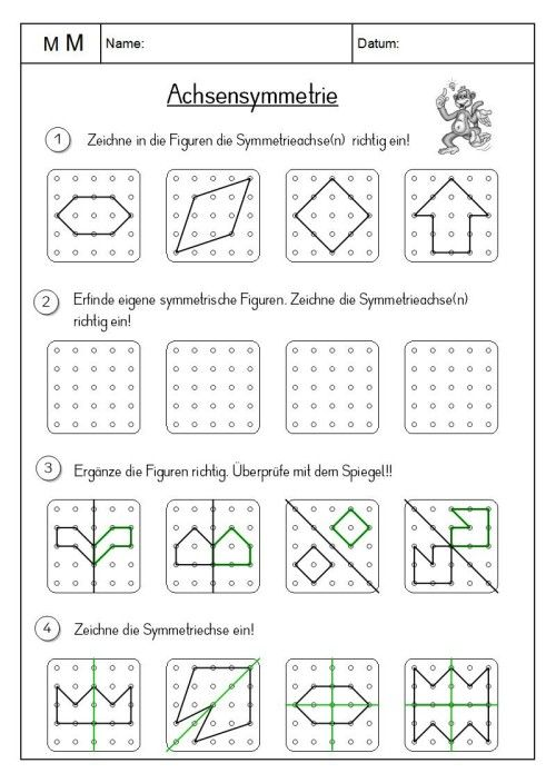 worksheet crafter klassenzimmer schulideen mathe und achsensymmetrie. Black Bedroom Furniture Sets. Home Design Ideas