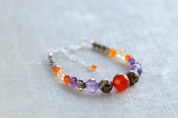 Custom-made Obereg Bracelet - Natural stones - Sterling Silver -Crystals - Amethyst - Carnelian - Smoky Quartz - Citrine