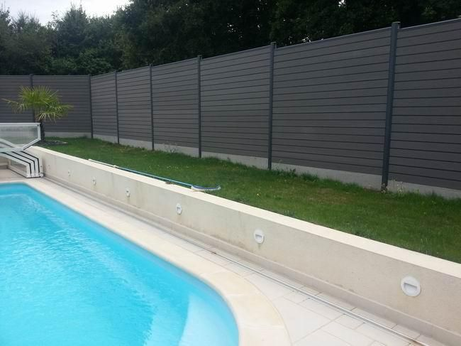 Palissade en composite gris anthracite oc wood cl tures for Cloture bois piscine