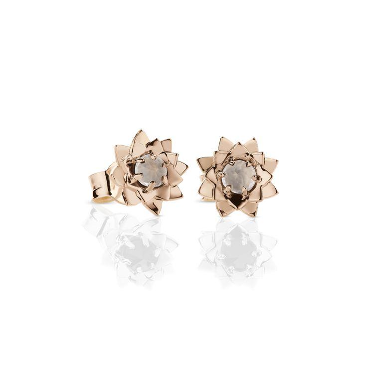 Meadowlark | protea stone studs // rose gold with rose quartz.