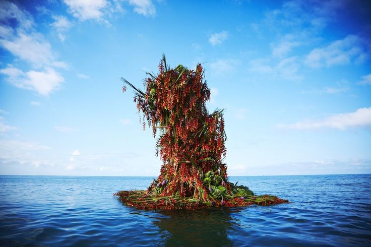 Artist Plants a Red Flower Tower in the Sea | The Creators Project
