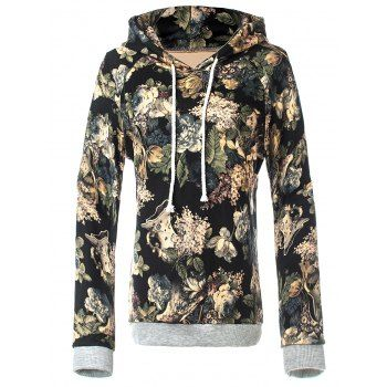 Retro Floral Pullover Hoodie