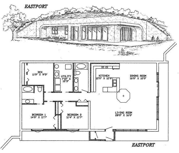 16 best berm home plans images on pinterest floor plans for Underground house blueprints
