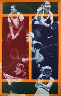 Women's Tennis FIVE STARS Poster - Nike Inc. 1998 - Monica Seles, Mary Pierce, Amanda Coetzer, Lindsay Davenport, Mary Jo Fernandez - available at www.sportsposterwarehouse.com