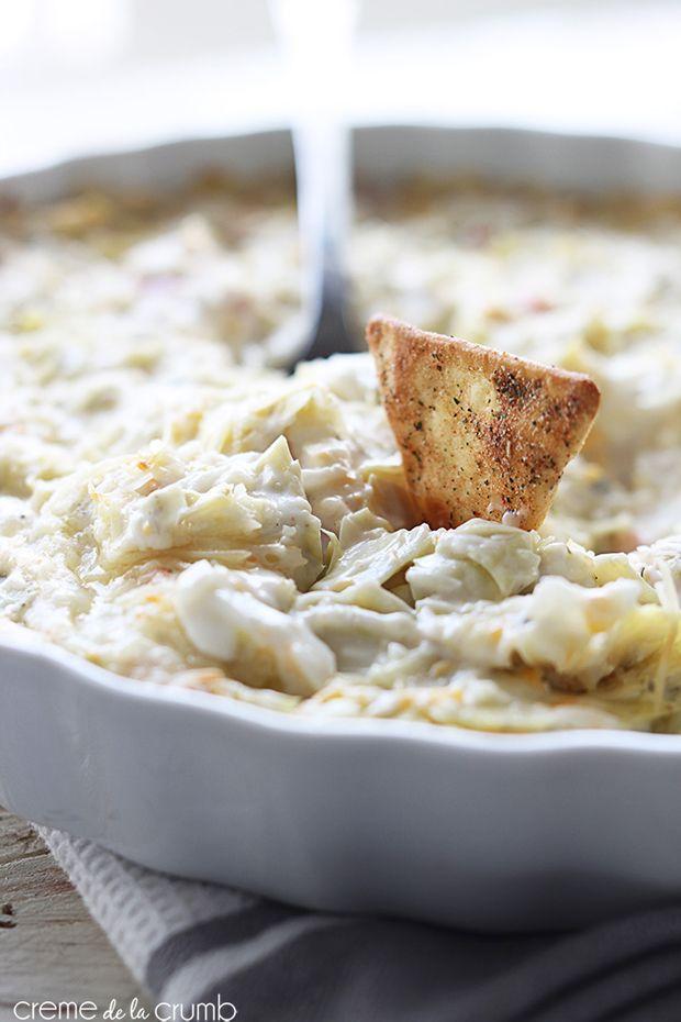 Hot-Crab-and-Cheesy-Artichoke-Dip Recipe - RecipeChart.com #Appetizer