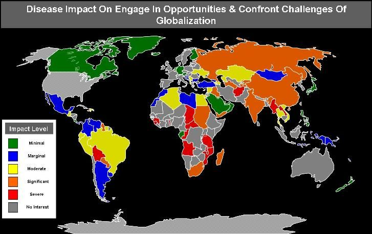This map shows all the countries that have been impacted by globalisation and also the different levels of impact.