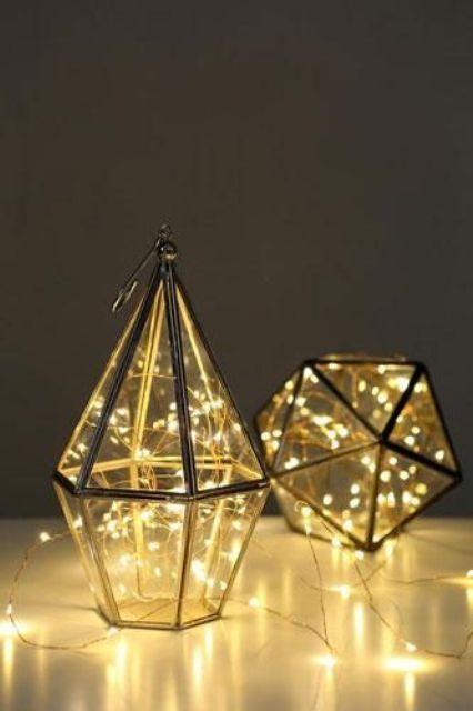 LED filled geo lanterns will make any wedding cozier