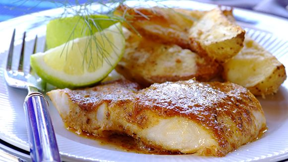 DELICIOUS OVEN-BAKED FISH AND CHIPS - A family favourite - and this version will be a hit with Dad