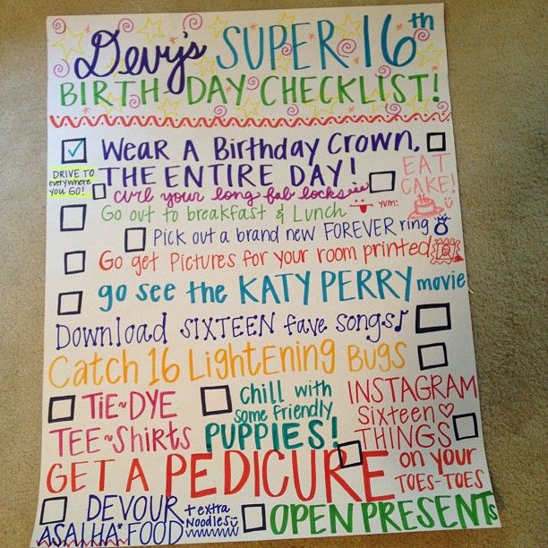 Sweet 16 Birthday Checklist!