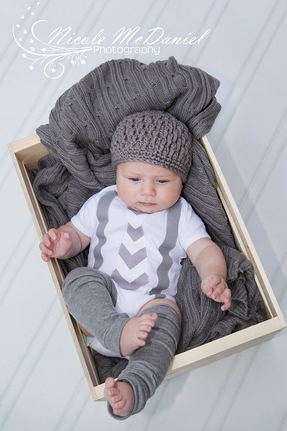 NEW Fall Winter Gray Chevron Baby Boy Tie Onesie by CoutureForKids, $36.00