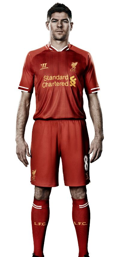Captain Steven Gerrard models the new #LFC home kit for the 2013-14 season.