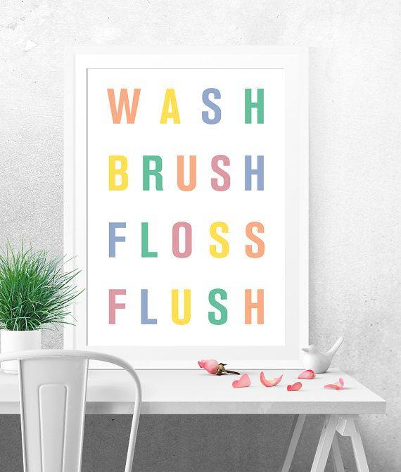 Wash brush floss flush, Poster stampabile, Arte stampabile, Stampa artistica, Arte digitale, Poster minimalista, Decorazione bagno