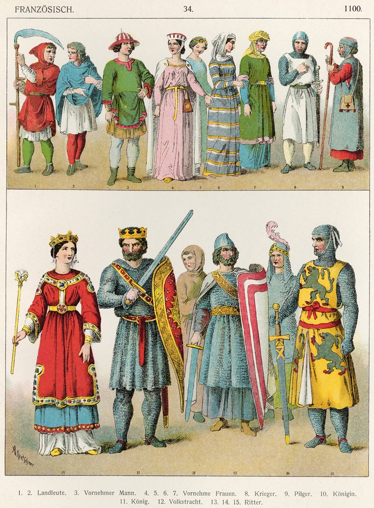 Medieval attire, c. 1100 (from a much later costume history book).