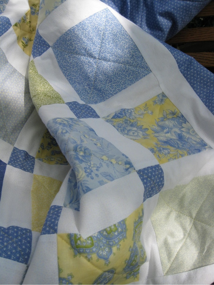 blue and yellow quilts | Charm Squares Blue and Yellow Quilt by SeptemberOaks on Etsy