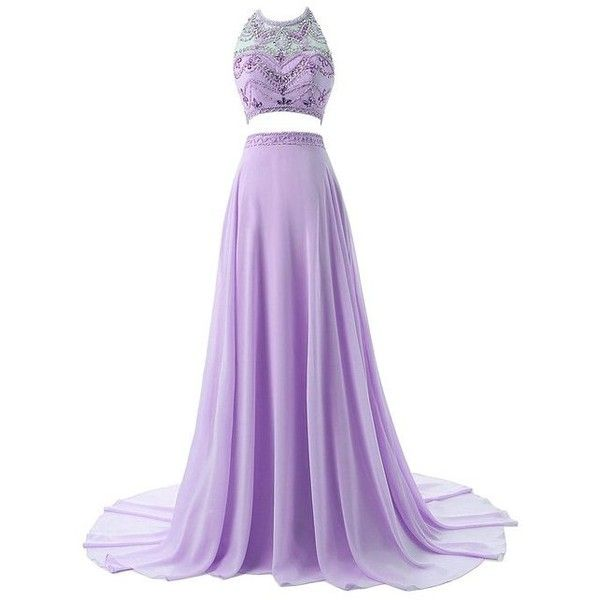 Sisjuly Women's Two Pieces Illusion Neck Beaded Crystals Chiffon Prom... ($182) ❤ liked on Polyvore featuring dresses, purple chiffon dress, 2 piece dress, purple beaded dress, two piece prom dresses e beading dress