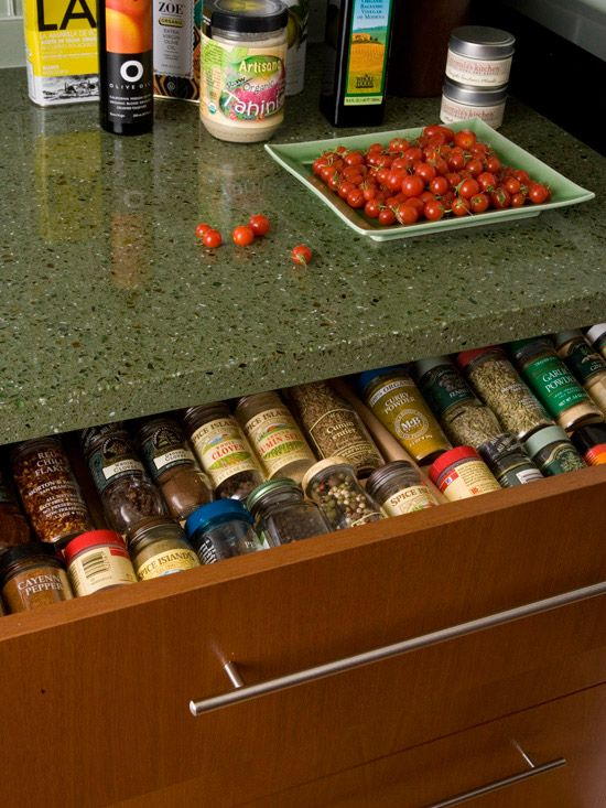 From Better Homes & Gardens, store spices in a shallow drawer below the cooktop or to the side of range, on thier sides with labels visible. Love this idea, no more standing on my head to reach or blindly trying to locate what is needed.