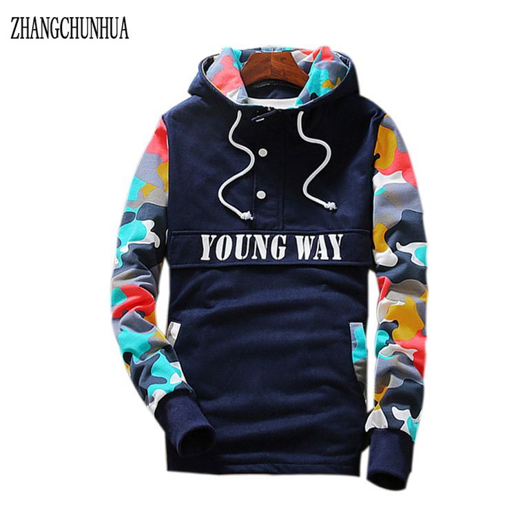 ZHANGCHUNHUA  Hip Hop Hoodie Mens Fashion Sportswear Long Sleeve Camouflage Knit Pullover Sudaderas con capucha Apparel #Affiliate