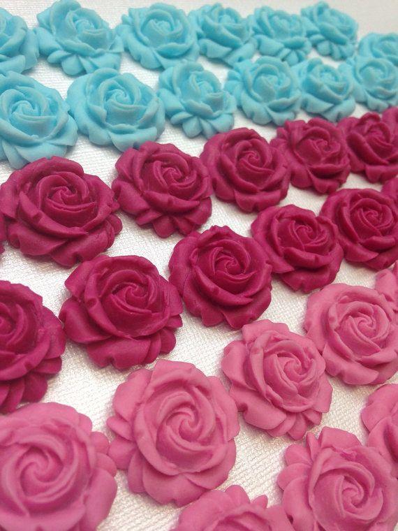 Fondant Rose Cupcake Toppers, Rose Cake Toppers, Spring Birthday, Fondant Roses, Fondant Flowers, Birthday, Edible