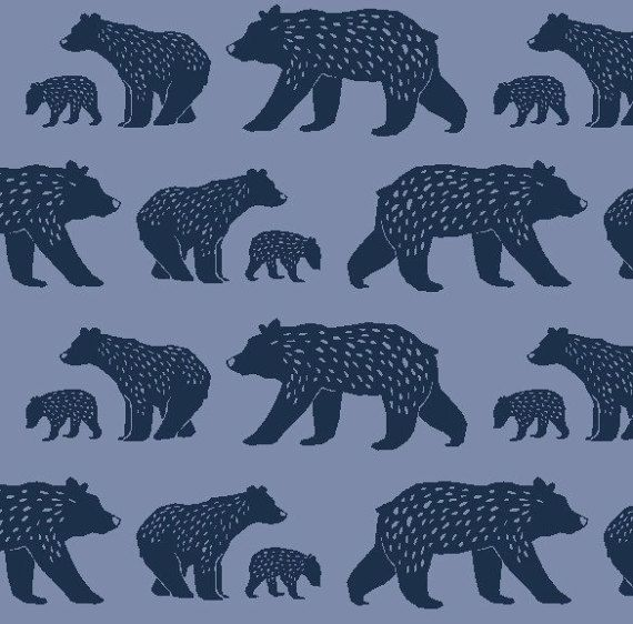 Bear Family Monaluna Fabrics, Simple Life, bear fabric, organic fabric by the yard, Scandinavian, modern blender, woodland, animal fabric