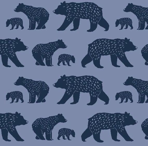 Bear Family Monaluna Fabrics, Simple Life, bear fabric, organic fabric by the yard, Scandinavian, modern blender, woodland, animal fabric