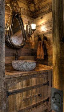 Lands End Development Designers Builders Rustic Bath Stone Wood Leather