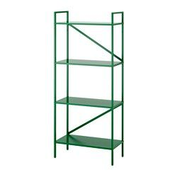 IKEA - DRAGET, Shelf unit, green, , The design makes the bookcase easy to place in different spaces and match with other furniture.Extra material in the shelves helps dampen noise when you place things on the shelves.