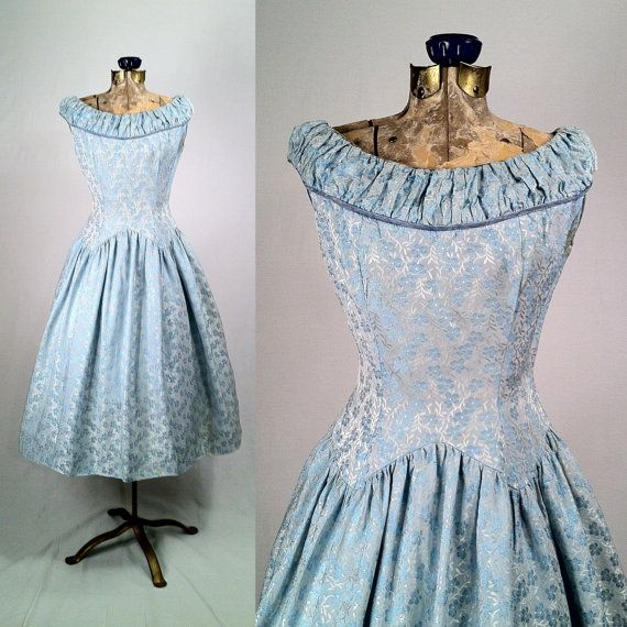 1950s Light Blue Satin Brocade Swing Dress  Ruched by SLVintage
