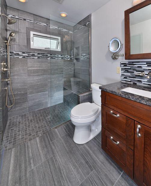 Bath Floor and Shower Wall: Eramosa Carbon 12 x 24 ...