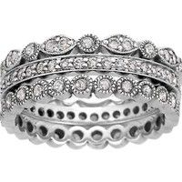 18K White Gold Luxe Antique Eternity Diamond Band